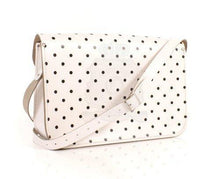 "15"" White Polka Dot English Leather Satchel Classic Retro Fashion laptop/school bag"