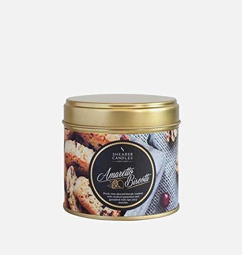 Shearer Candles Amaretto Biscotti, Scented, Tin Candle, Cotton Wick, Fragrance & Essential Oils, Gold and White, Large