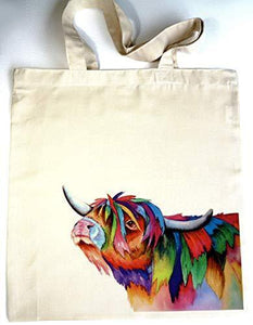 Eco Artist Designed Highland Cow Canvas Tote Bag with Vibrant Animal Print