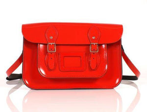 "12"" Patent Red English Leather Satchel Classic Retro Fashion laptop / school bag - Cordelia's House of Treasures"