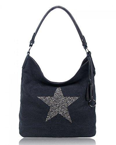 SALE SALE NEW Women Fashion Canvas Sparkling Star Tote/Shopper/Shoulder Handbag/Hobo Bag (Black)