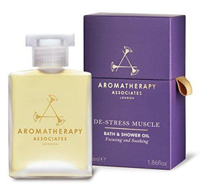 Aromatherapy Associates De-Stress Muscle Bath And Shower Oil 55ml. Immerse over-exerted muscles in the warming and soothing essential oils of Rosemary, warming Ginger and invigorating Black Pepper. - Cordelia's House of Treasures