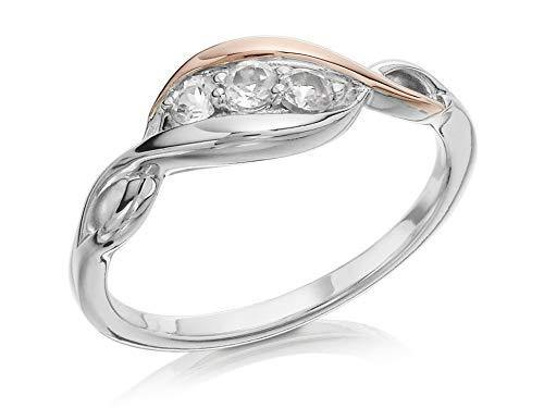 Clogau Womens Clogau White Topaz Silver And 9ct Rose Gold Trilogy Ring J - Cordelia's House of Treasures
