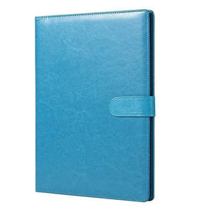 A4 Clipboard Folder with Storage Document Pen Holder, Writing Pad Organizer Clip Board CV Faux Leather Folder Foldover FolioTurquoise