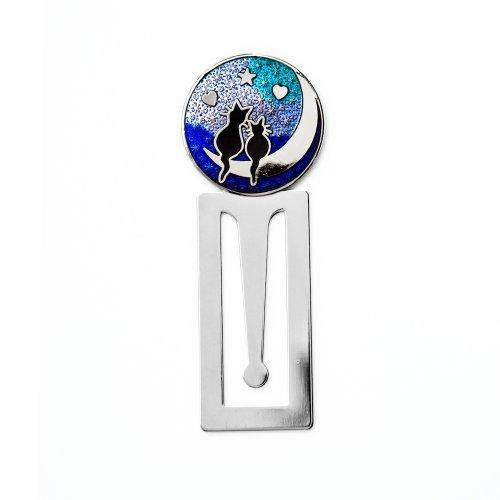 Sea Gems Gift Boxed Cats On Moon With Hearts Silver Plated Bookmark 0267