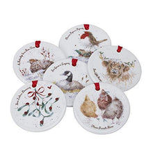 Portmeirion Home & Gifts Wrendale 12 Days of Christmas Decorations, Bone China, Multi Coloured, 0.5 x 7 x 7 cm