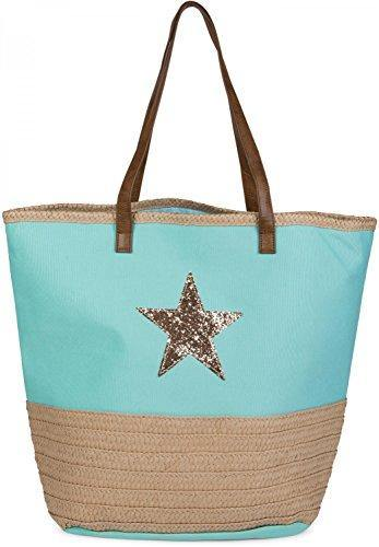 styleBREAKER Beach Bag with Sequined Star and Bast, Sling Bag, Shopper, spa Bag, Women 02012058, Color:Turquoise