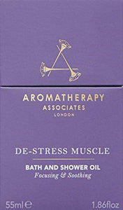 Aromatherapy Associates De-Stress Muscle Bath And Shower Oil 55ml. Immerse over-exerted muscles in the warming and soothing essential oils of Rosemary, warming Ginger and invigorating Black Pepper.