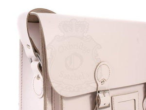 "13"" White Real Leather English Satchel - Classic Retro Fashion laptop/school bag"
