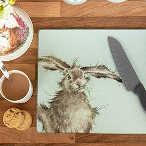 Wrendale Toughened Glass Worktop Saver Hare 30x40Cm, Perfect for All Food Preparation, Easy Clean Surface