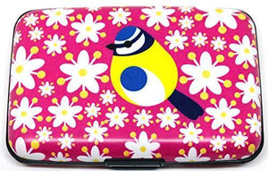 I like birds RFID blocking card wallets Aluminium Card Wallet Blue Tit Fuchsia Credit Card Holder Card Safe Business Card holder Womens