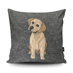 Wraptious Labrador Dog Print vegan faux suede cushion with a Fibre Inner by Sharon Salt