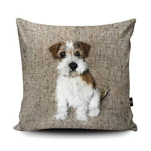 Wraptious Rough Haired Jack Russell Dog Print vegan faux suede cushion with a Fibre Inner by Sharon Salt