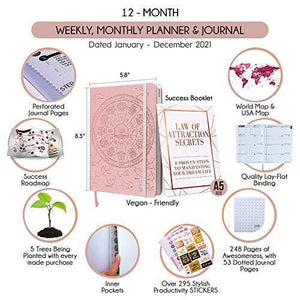 Law of Attraction Life Planner - Academic planner to Increase Productivity & Happiness - Weekly Planner, Organizer & Gratitude Journal (Undated, Rose Gold) + BONUS Planner Stickers - Cordelia's House of Treasures