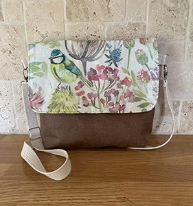 Souci large crossbody handbag- faux and watercolour birds - Cordelia's House of Treasures