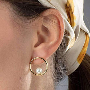 Scream Pretty - Gold Plated Venus Pearl Open Hoop Stud Earrings - Cordelia's House of Treasures