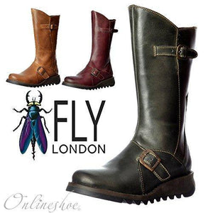 New Fly London Mes 2 Boot Womens Leather Boots Ladies Size UK 4-8 Purple (UK 7 / EU 40, Purple) - Cordelia's House of Treasures