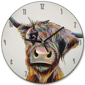 Wraptious Adam Barsby A Bad Hair Day Scottish Highland Cow Coo Wall Clock