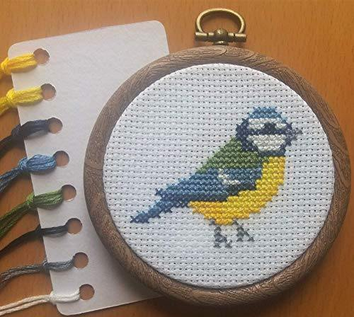 Blue Tit Cross Stitch Kit - Beginners Counted Cross Stitch - Bird Mini Cross Stitch - Cordelia's House of Treasures