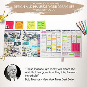 Deluxe Law of Attraction Life Planner - Academic Planner to Increase Productivity & Happiness - Weekly Planner, Organizer & Gratitude Journal (Undated, Vanilla) + Planner Stickers