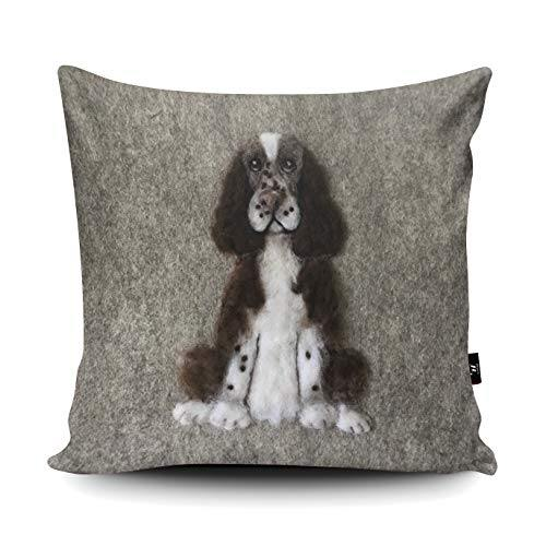 Wraptious Springer Spaniel Dog Print vegan faux suede cushion with a Fibre Inner by Sharon Salt