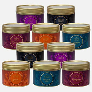 Shearer Candles - Mix Of Ten Small Tins - Includes A Selection Of Amber Noir, Frankincense & Myrrh, Orange Pomander, Cinnamon Spice and Oriental Fig
