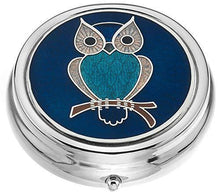 Sea Gems Celtic Lands Large Turquoise Owl Pill Box 7945