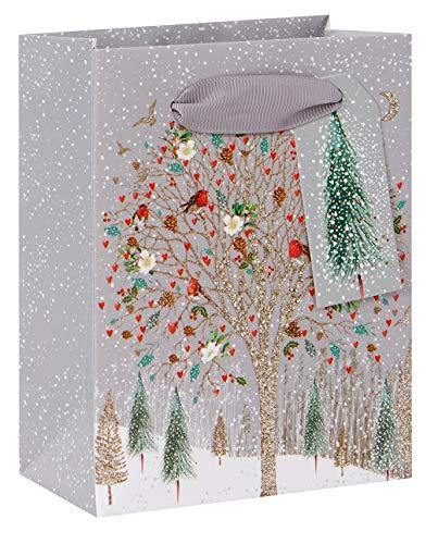 Deer Friends Christmas Small Gift Bag – Wildlife on The Tree Xmas Giftbag