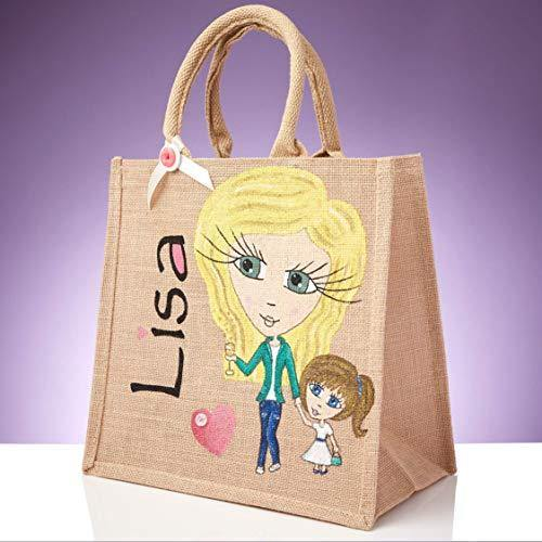 Personalised Hand Painted Jute Bag, Women's Tote Shopper, Reusable Shopping Bag, Eco Friendly Carry Bag, Available in 3 Sizes - 22 x 20cm - 30 x 30cm - 40 x 40cm