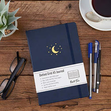 Yop & Tom A5 Dot Grid Journal - Moon and Stars - with Extra Thick Paper (160 GSM) - Bullet Grid Dotted Journal - Midnight Blue - Cordelia's House of Treasures