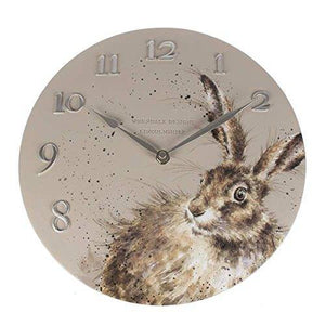 Wrendale Designs Hare Clock-30cm Diameter, Hard Resin, Soft Grey, 35 x 33 x 6 cm