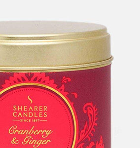 Shearer Candles Cranberry & Ginger Large Scented Tin Candle, Red, 7.5 x 7.5 x 7.2 cm