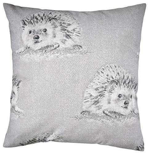 Cushion Cover in Grey and Purple Hedgehog Brushed Cotton 16