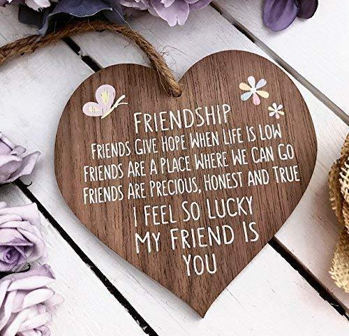 I'm Lucky My Friend Is You Wooden Hanging Heart Friendship Gift Best Friends Plaque - Cordelia's House of Treasures