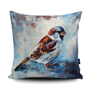 Wraptious Sparrow Print vegan faux suede cushion with a Fibre Inner by Valerie de Rozarieux