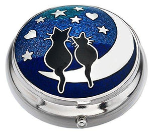 Sea Gems presented by Celtic Glass Designs Pill Box in a Cats on Moon Design.