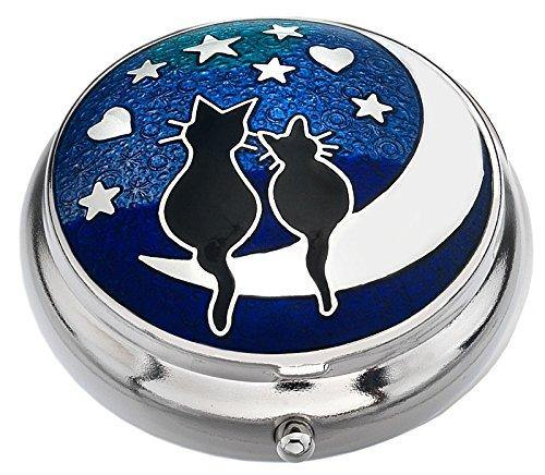 Sea Gems presented by Celtic Glass Designs Pill Box in a Cats on Moon Design. - Cordelia's House of Treasures