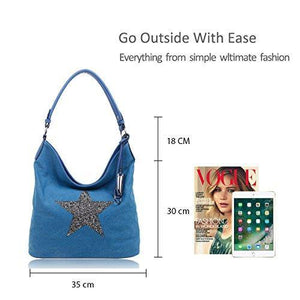 Redfox Sparking Rhinestone Embellished Star Canvas Shoulder Bag/Tote Shopper Large Size 35x30x14 cm