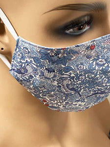 Liberty of London Cotton & 100% Mulberry Silk Face Mask with Built in Filter. STRAWBERRY THIEF Print. 4 Layers. Machine Washable, Adjustable. Handmade UK. - Cordelia's House of Treasures