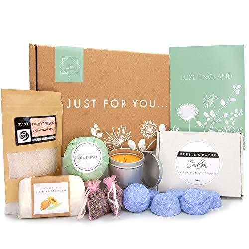 Luxe England Pamper Gifts for Women: 6 Shower Steamers, Prosecco Bath Salts, Scented Candle, Lavender, Big Bath Bomb, Handmade Soap Pamper Hamper for Women