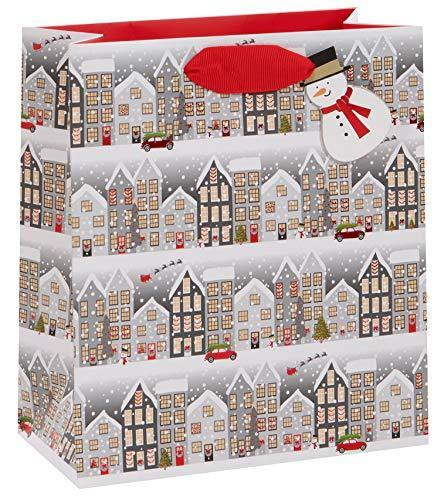 Houses Merry Christmas Medium Gift Bag – Wendy Jones-Blackett Xmas Giftbag