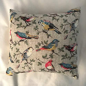 Garden Birds Cushion, Cover & Pad 11 inches Small Size, Robin, Chaffinch, Long Tail Tit, Conservatory, New Home, Wedding by Sleepy Angel