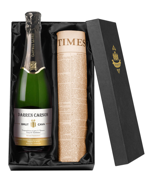 Personalised Cava & Newspaper Gift Set - Cordelia's House of Treasures