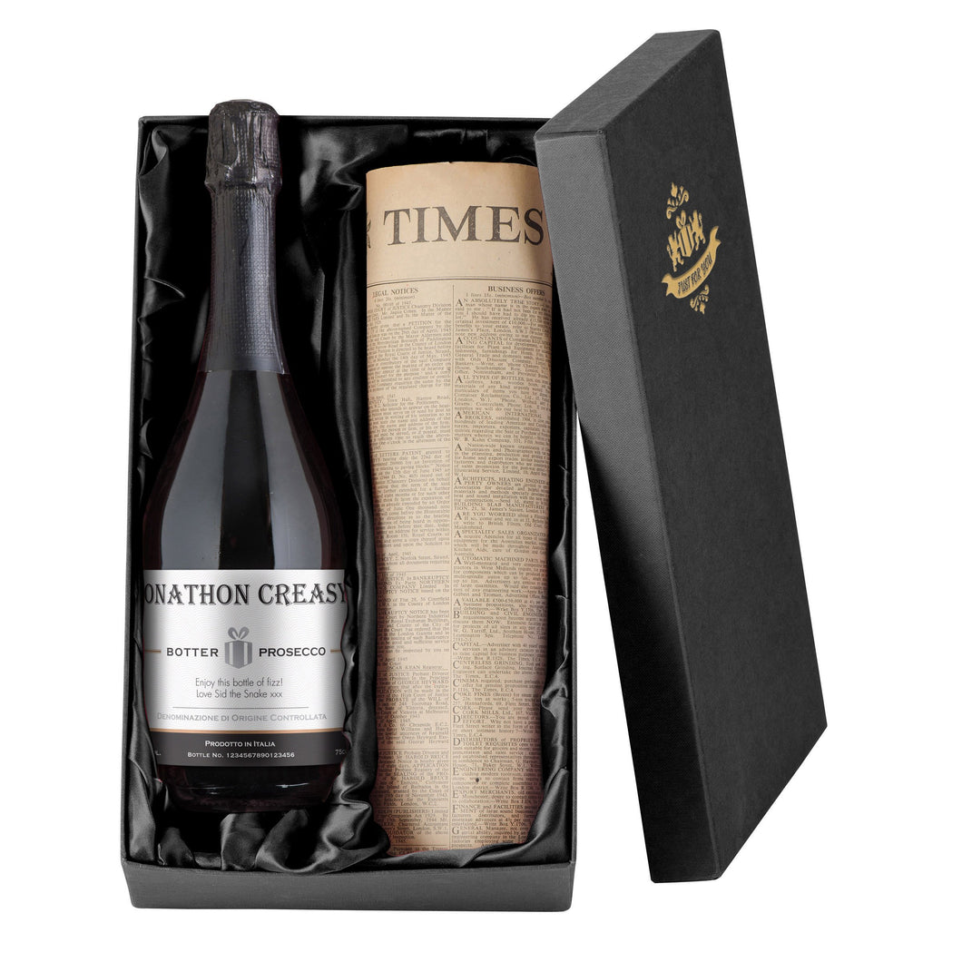 Personalised Contemporary Prosecco & Original Newspaper - Cordelia's House of Treasures