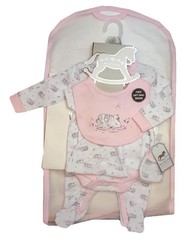 Pink Swan Layette Gift Set. New born, 0-3 months and 3-6months - Cordelia's House of Treasures