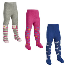Little Girls Patterned Knitted Tights. Unicorn, Owl and Stripe, Dots. - Cordelia's House of Treasures