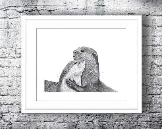 A giclee art print from an original pencil drawing of a pair of otters - british artisan