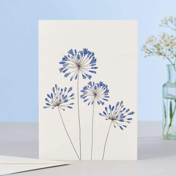 Agapanthas Flower greeting card in simplistic style - stationery Eloise hall gift card home