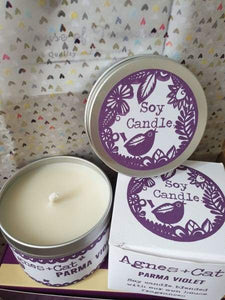 Agnes and cat parma violet candle - Group two