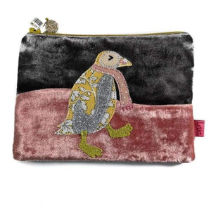 Applique dancing penguin velvet handmade coin purse designed by Lua - Cordelia's House of Treasures